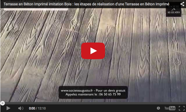 video terrasse en b ton imprim imitation bois. Black Bedroom Furniture Sets. Home Design Ideas